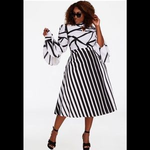 Multi Striped Contrast Skirt